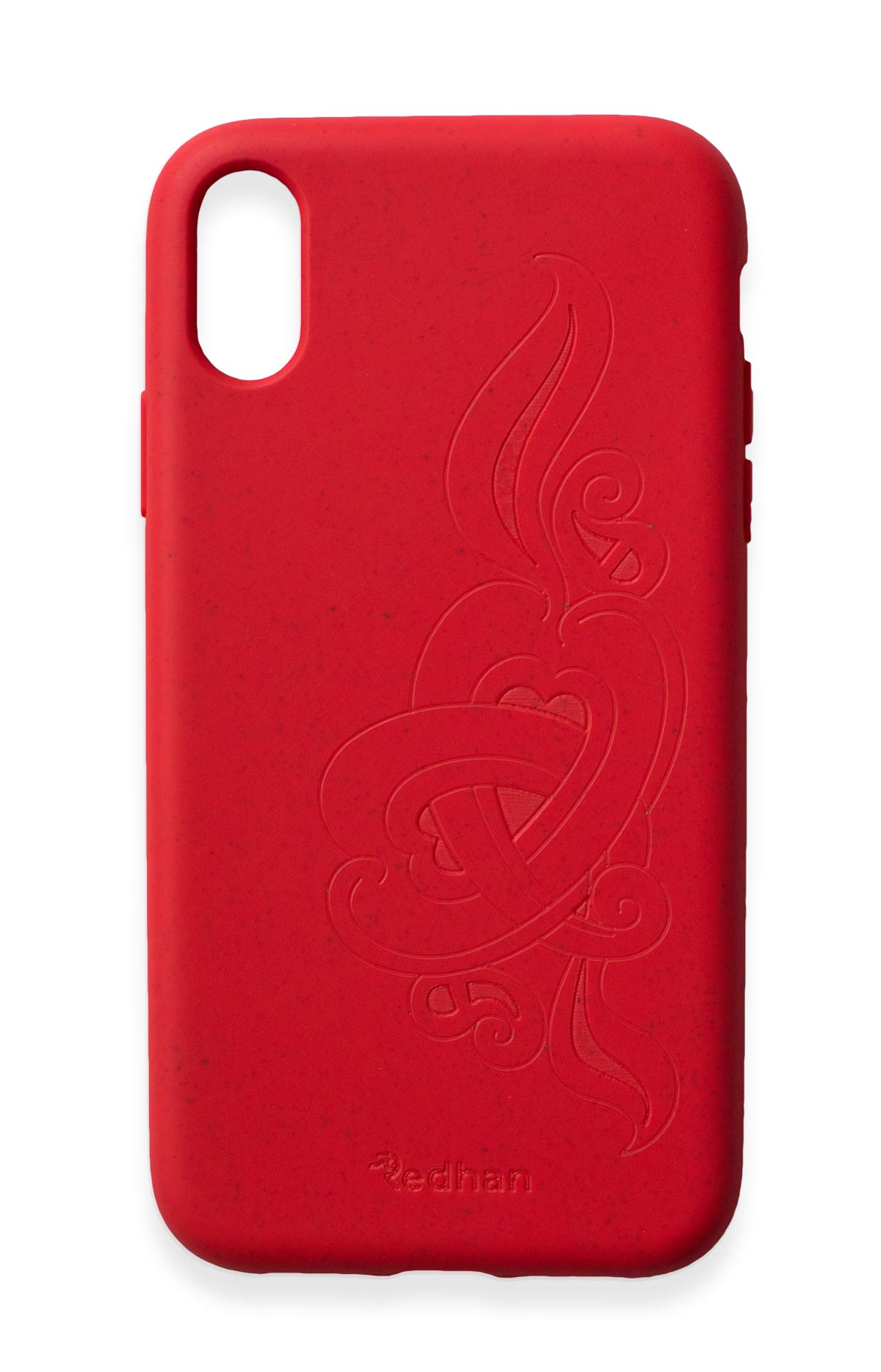 Eco Friendly iPhone X / XS Phone Case - 'Hirigaa' or Stone Art in Ruby Red