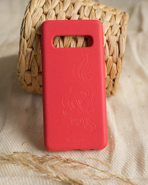 Eco Friendly Galaxy S10 Phone Case - 'Hirigaa' or Stone Art in Ruby Red