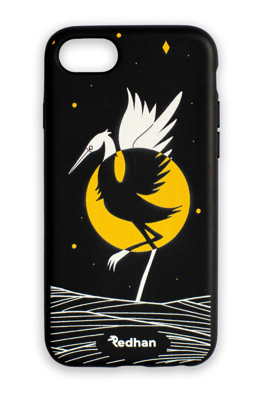 Eco Friendly iPhone 6 / 6S / 7 / 8 / SE (2020) Phone Case - Grey Heron in Pitch Black