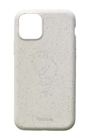 Eco Friendly iPhone 11 Pro Phone Case - 'Sangu' or Triton Shell in Pearl White