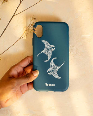 Eco Friendly iPhone X / XS Phone Case - Flowing Rays in Navy Blue