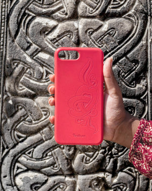 Eco Friendly iPhone 11 Pro Max Phone Case - 'Hirigaa' or Stone Art in Ruby Red
