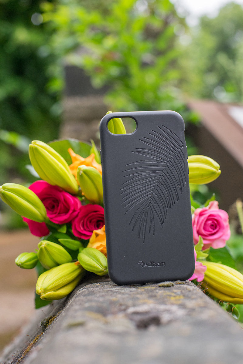 Eco Friendly iPhone  6/6S/7/8/SE (2nd Gen) Phone Case - Palm Leaf in Pitch Black