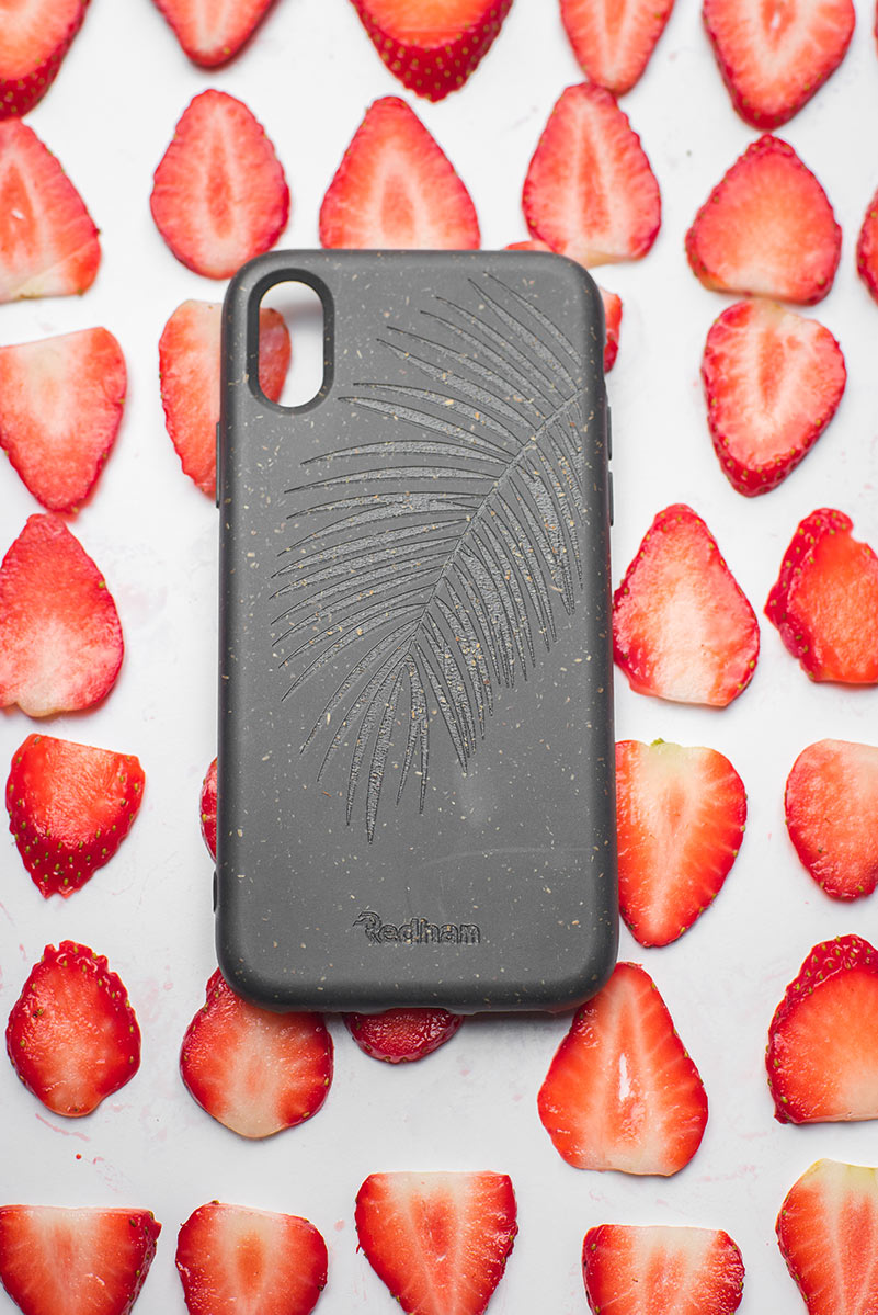 Eco Friendly iPhone XS Max Phone Case - Palm Leaf in Charcoal Black