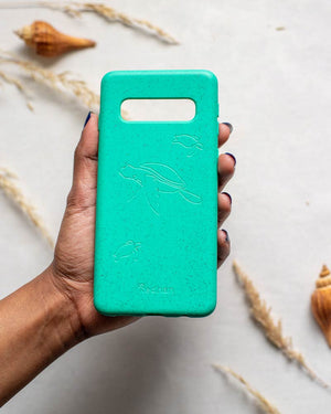 Eco Friendly Galaxy S10 Phone Case - Turtle in Turquoise