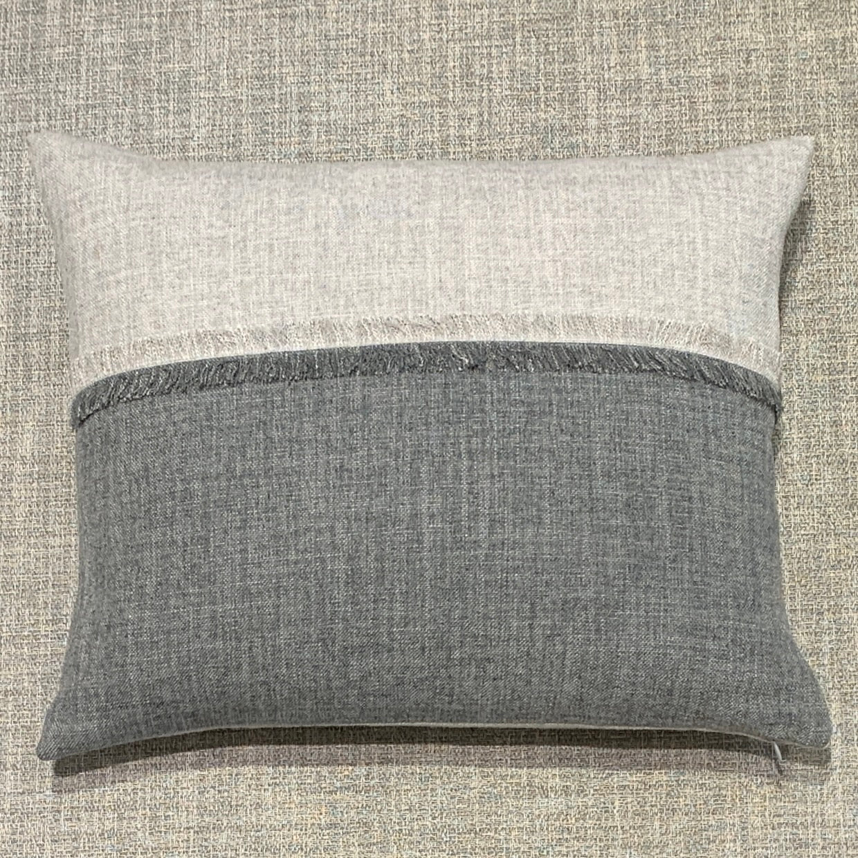 Sterling & Graphite Heathered Colour Block Cushion