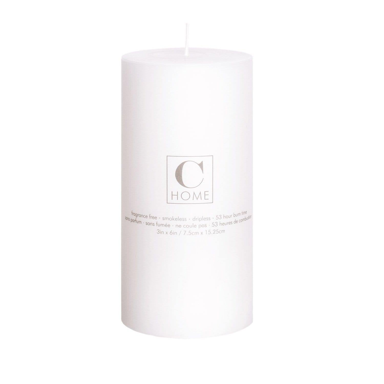 Candle White Pillar Candle 3 d x 6 h inch