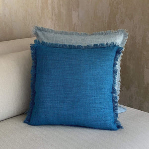Cobalt Blue Fringed Linen Cushion