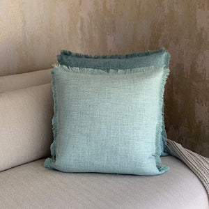 Egg Blue Fringed Linen Cushion