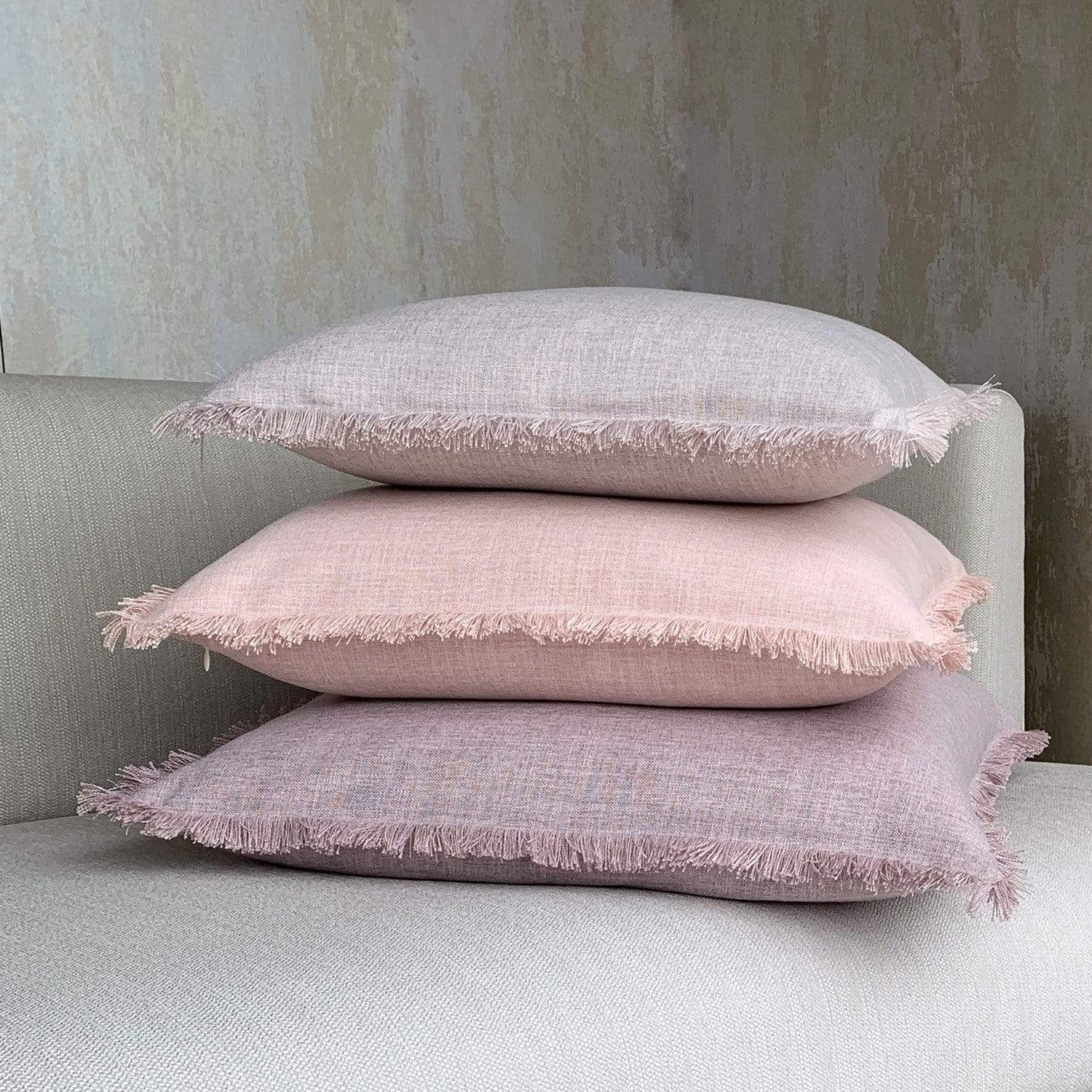 Light Mauve Fringed Linen Cushion