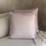 Load image into Gallery viewer, Light Mauve Fringed Linen Cushion