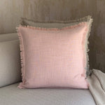 Load image into Gallery viewer, Pink Fringed Linen Cushion
