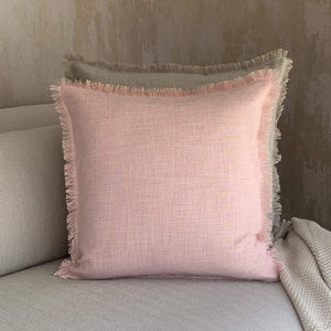 Pink Fringed Linen Cushion
