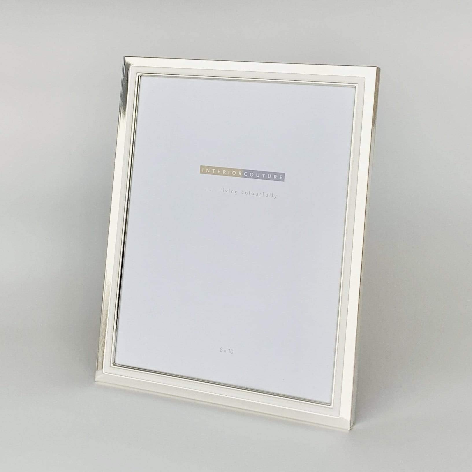 Silver with White Enamel Inlay Frame