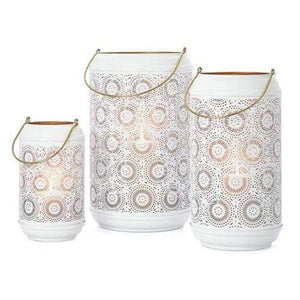 Safir Medallion White Metal Cutout Lantern