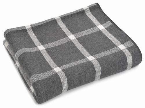 Charcoal Cotton Plaid Throw