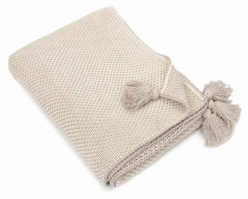 Pale Sand Cotton Throw with Tassels