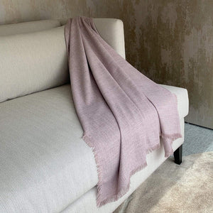 Dark Mauve Fringed Throw