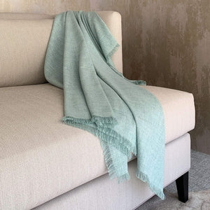 Egg Blue Fringed Throw