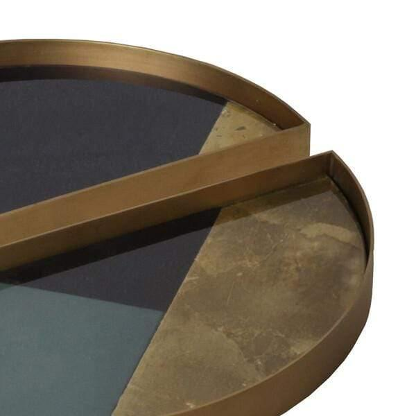 Tray Blue Geometric Half Moon Valet Tray