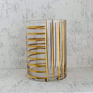 Gold Grid Glass Vase