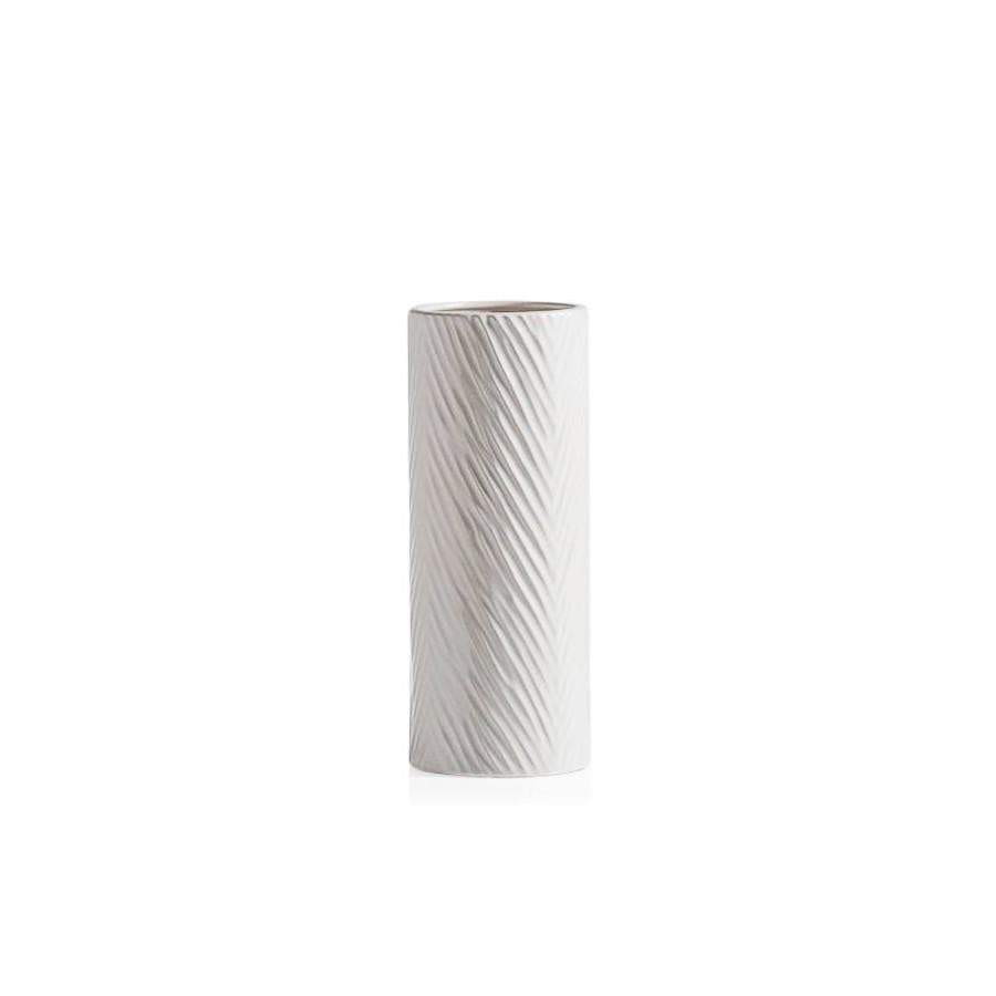 White Palm Design Ceramic Vase