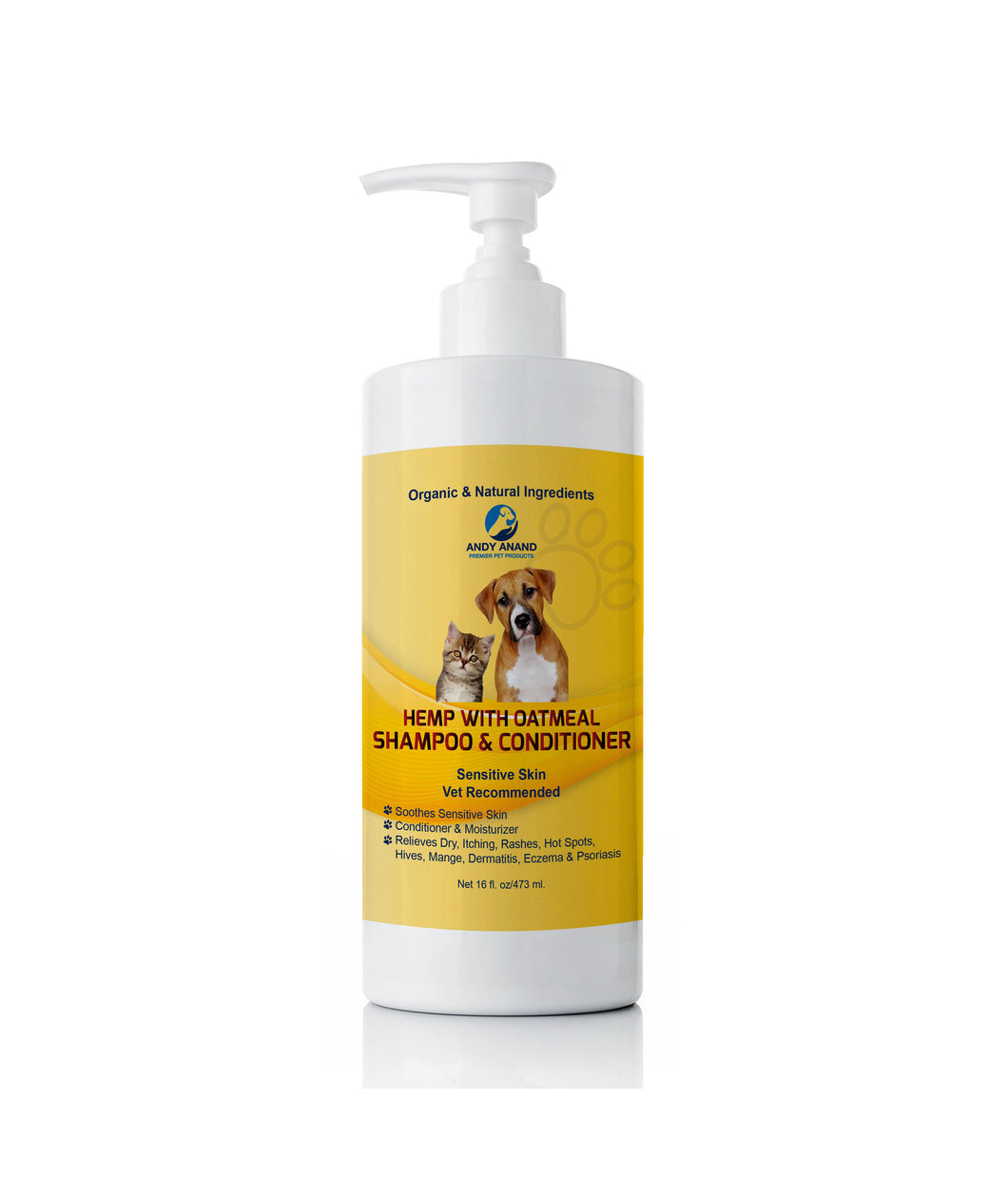 Natural Hemp With Oatmeal Dog Shampoo+Conditioner For Sensitive Skin
