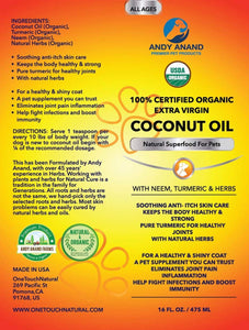 Andy Anand Certified Organic Coconut Oil for Pets