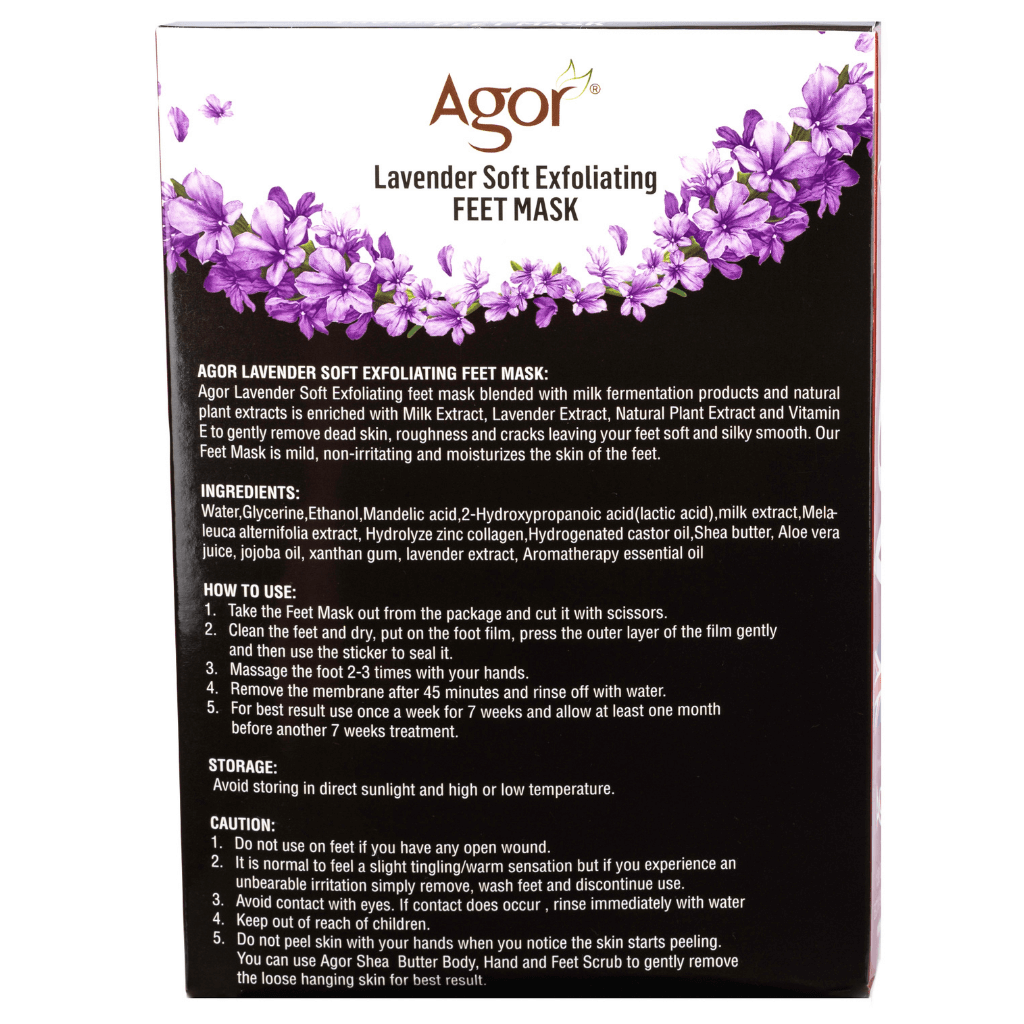 Agor Lavender Soft Exfoliating Feet Mask ( 7 Pairs)