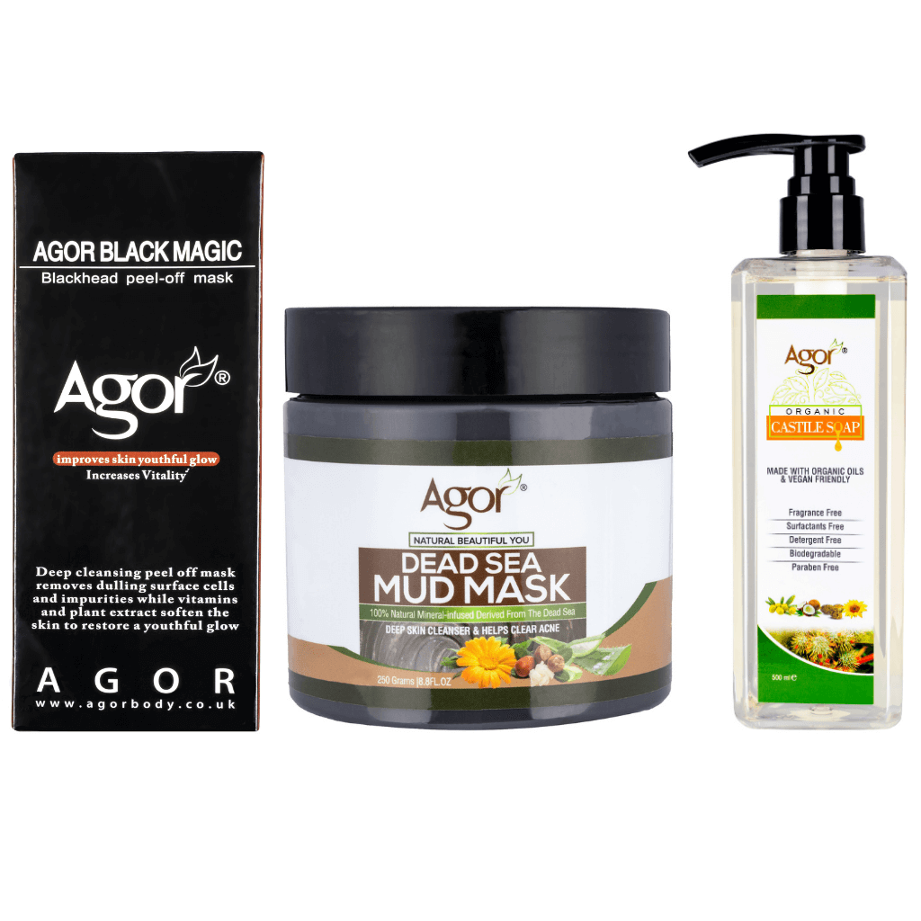 Agor Face Care Combo ( Natural Dead Sea Mud, Charcoal Mask & Castile Soap)