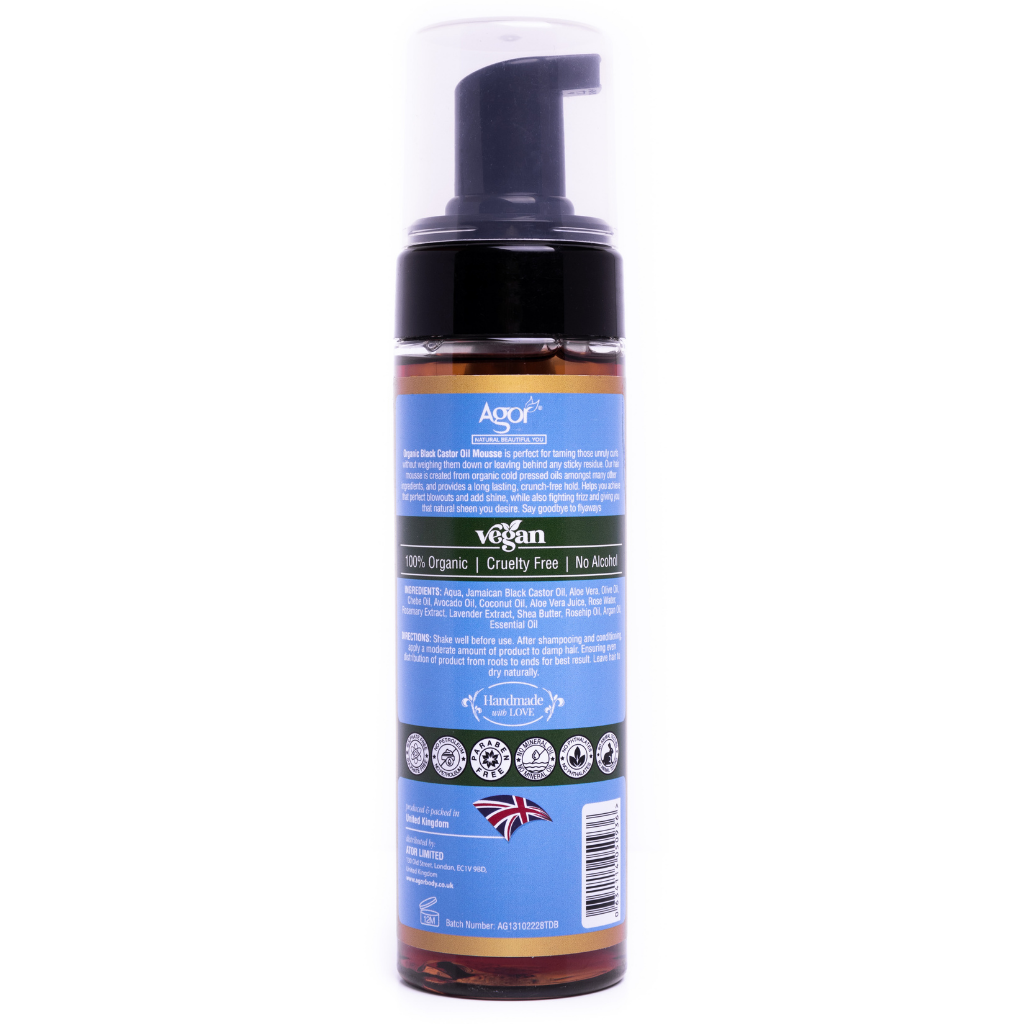 Agor Organic Black Castor Oil Hair Mousse (200ml)