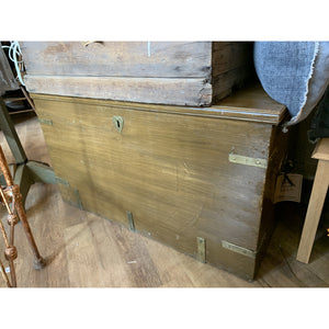 "Wooden Trunk With ""Heart"" Handles"