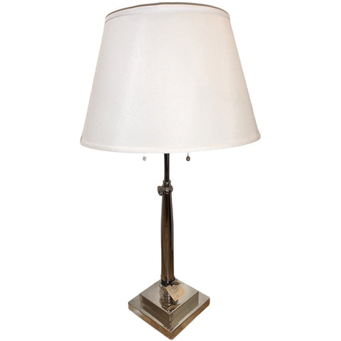 Tall Silver Table Lamp with White Shade