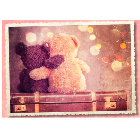 Teddy Bears On Suitcase Hugging - Greeting Card - Love