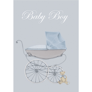 'Baby Boy' Greeting Card with Vintage Baby Carriage - Lady of the Lake