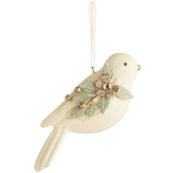 Bird Ornament in Cream and Gold - Lady of the Lake