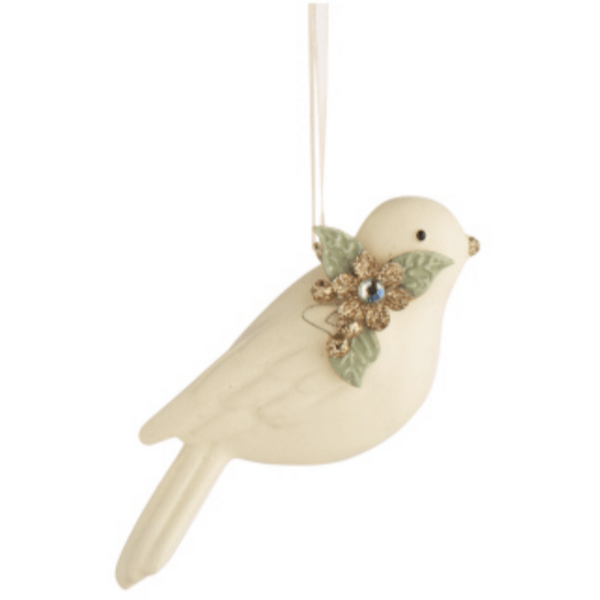 Bird Ornaments in Cream and Gold - Lady of the Lake