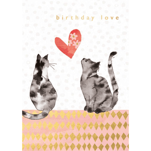 'Birthday Love' Illustrated Cats and Heart Greeting Card - Lady of the Lake