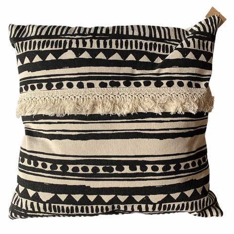Black & Beige Patterned Pillow - Lady of the Lake