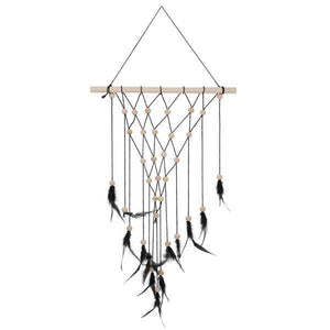 Black & Natural Wall Decor with Feathers - Lady of the Lake