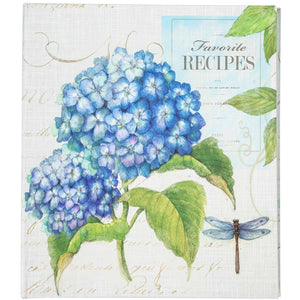 Blue Hydrangea & Dragonfly Recipe Binder - Lady of the Lake
