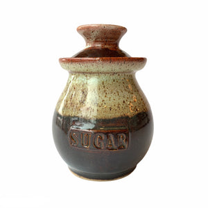 Brown Pottery Sugar Bowl with Lid - Lady of the Lake