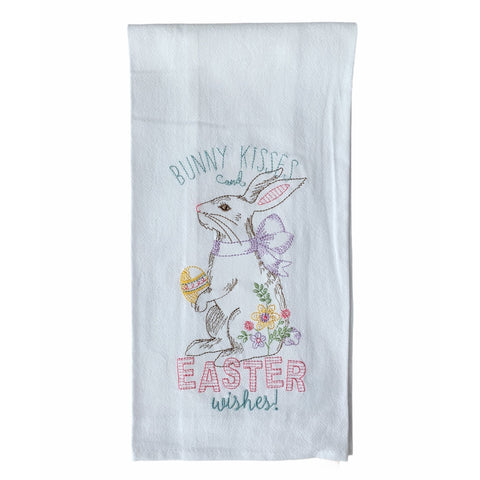 Bunny Kisses... Embroidered Flour Sack Towel - Lady of the Lake