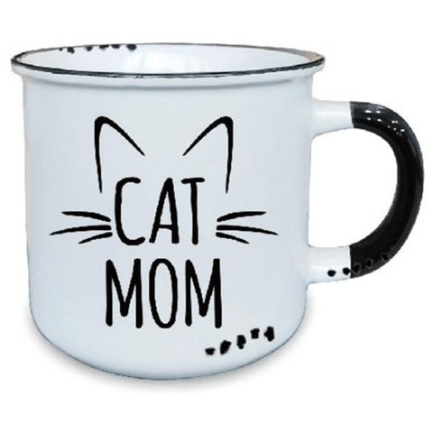 'Cat Mom' White Ceramic Mug with Black Detail - Lady of the Lake