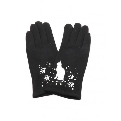 Cat Print Touch Screen Glove With Rhinestone & Pearls - Lady of the Lake
