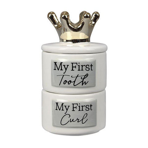 Ceramic Baby Keepsake Crown Box - My First Tooth and Curl - Lady of the Lake