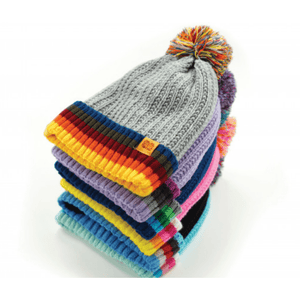 Children's Plush Lined Pom Pom Hat in Cute Colours - Lady of the Lake