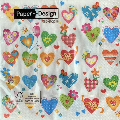Colourful Hearts - Paper Napkin - Lady of the Lake