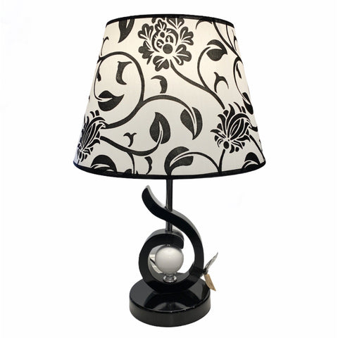 Damask Black and White Lamp - Lady of the Lake