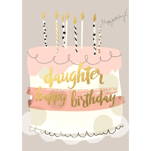 'Daughter Happy Birthday' Greeting Card with Pink Cake Illustration - Lady of the Lake
